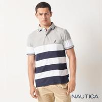 【NAUTICA】男裝 簡約條紋吸濕排汗短袖POLO衫(灰色)