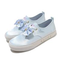 【SKECHERS】休閒鞋 Bobs Marley 美少女戰士 女鞋 聯名款 光滑緞面鞋面 蝴蝶結 穿搭 藍 白(66666268LTBL)
