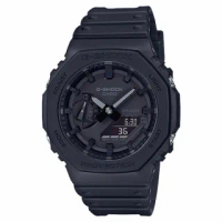 【CASIO 卡西歐】G-SHOCK 雙顯錶 碳纖維防護構造 極簡風格 樹脂錶帶 防水200米(GA-2100-1A1)