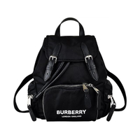 【BURBERRY 巴寶莉】BURBERRY RUCKSACK白字LOGO尼龍扣式後背包(小/黑)