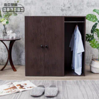 【南亞塑鋼】防水3尺二門一格組合式塑鋼衣櫃/雙吊桿塑鋼收納衣櫃(胡桃色)