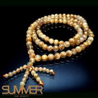 【SUMMER寶石】《清透滿絲7mm》天然巴西鈦晶圓珠108顆(繞3圈可當手鍊)