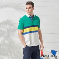 【NAUTICA】潮男色塊拼接短袖POLO衫(綠白)