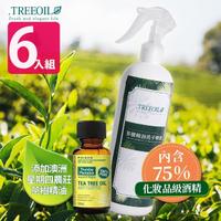 【TREEOIL】茶樹精油+75%酒精 乾洗手噴霧劑 500ml(6入)