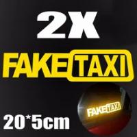 2Pcs Funny FAKE TAXI JDM Reflective Sticker Waterproof Car Window Bumper Decoration Stickers