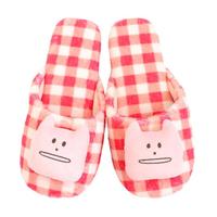 【CRAFTHOLIC 宇宙人】多汁草莓格紋貓室內拖鞋-加大(多汁系列)