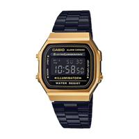 【CASIO 卡西歐】A168WEGB 時尚復古方型電子鋼帶手錶