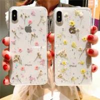ร้อนแห้งจริงดอกไม้ Glitter ใสโทรศัพท์กรณีสำหรับ Apple Iphone 6 7 8 Plus X XS XR สูงสุด11 pro 12มินิอีพ็อกซี่ Star ฝาครอบโปร...