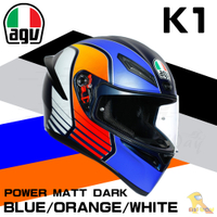 任我行騎士部品 AGV K1 全罩 安全帽 單鏡片 輕量化 通風 POWER MATT DARK 藍橘白