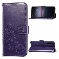 【PKG】Sony Xperia1 II 套保護殼(側翻磁扣皮套-幸運草-紫)