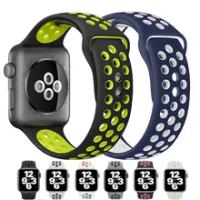 สายซิลิโคนสำหรับ Apple Watch Band 44มม.40มม.38มม.42มม.Breathable สายรัดข้อมือ IWatch Correa สำหรับ Apple Watch 6 SE 5 4 3
