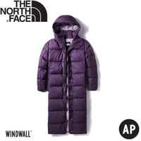 【 The North Face 女 長版防風保暖羽絨外套《深紫》】3VUW/羽絨外套/保暖外套