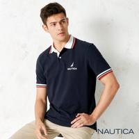 【NAUTICA】簡約拼接撞色領短袖POLO衫(藍色)