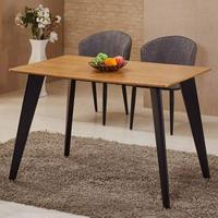 【AT HOME】喬絲4尺木紋黑腳鐵藝餐桌