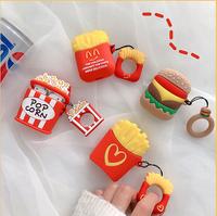 特價~蘋果 air pods 漢堡 薯條 爆米花 無線耳機 保護套 矽膠惡搞 耳機套 保護套 airpods保護套 食物