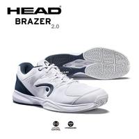 【H.Y SPORT】HEAD BRAZER男款透氣耐磨休閒網球鞋-白/海軍藍
