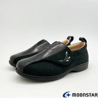 ★日本月星Moonstar機能介護鞋PASTEL系列3E寬楦輕量防止絆倒鞋款5026黑(銀髮段)