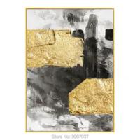 100% มือทาสีทองสีฟอยล์บนผ้าใบภาพผนังภาพวาดผ้าใบสำหรับห้องนั่งเล่นตกแต่งบ้านไม่มีกรอบ