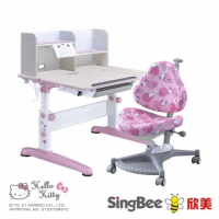 【SingBee 欣美】Hello Kitty-手搖L板桌椅組-105cm(兒童書桌椅/可升降桌椅/兒童桌椅/台灣製書桌)