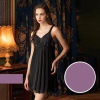【Wacoal 華歌爾】睡衣-優雅奢華超細針織 M-L 一件式裙款-性感 NNS05483PT(紫)
