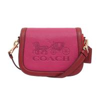 【COACH】Saddle系列粉桃色coach馬車圖騰斜背郵差包(C5776 IMRPC)