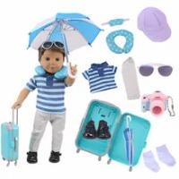 ใหม่9Pcsตุ๊กตากระเป๋าเดินทางชุดกระเป๋าเดินทางสำหรับตุ๊กตาอเมริกัน18นิ้ว & 43ซม.เด็กทารกรุ่นรั...