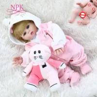 48 Cm Full Body Silikon Lembut BEBE Boneka Reborn Bayi Gadis Merah Muda Kucing Gaun Set Manusia Hidup Fleksibel Boneka Bayi