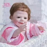 NPK 55CM Full Body Silikon Bebe Boneka Reborn Bayi April Terjaga Lembut Sentuhan Nyata Mandi Mainan Koleksi Seni Boneka kualitas Tinggi